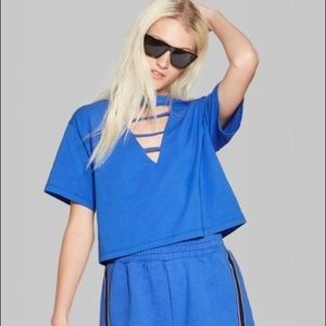 ♥️Blue Crop Top With Cutouts